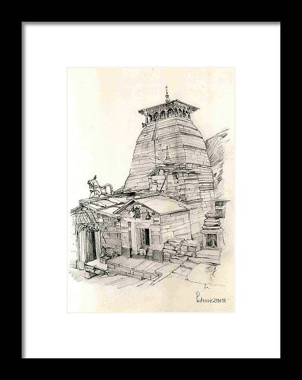 Landscape Framed Print featuring the painting Tungnath by Padamvir Singh