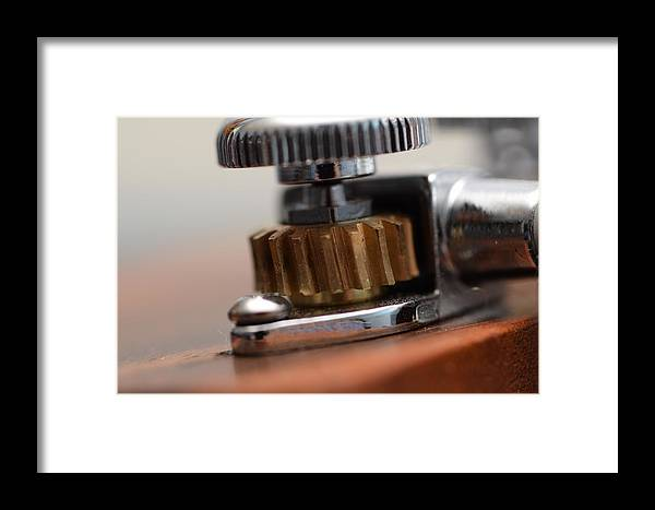 Art Macro Photography Simple Framed Print featuring the photograph Tuning Machine by Zachary Webb