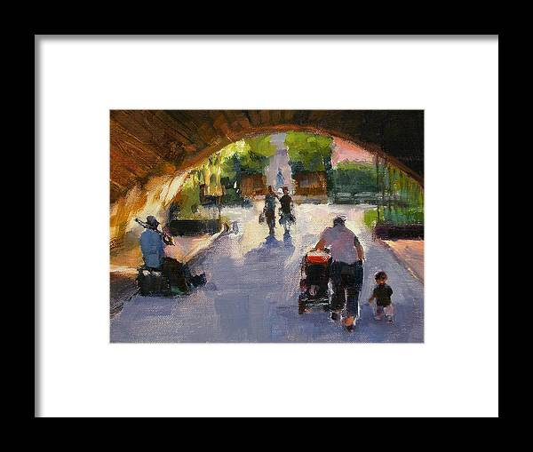 Urban Landscape Framed Print featuring the painting Tunnel In Central Park by Merle Keller
