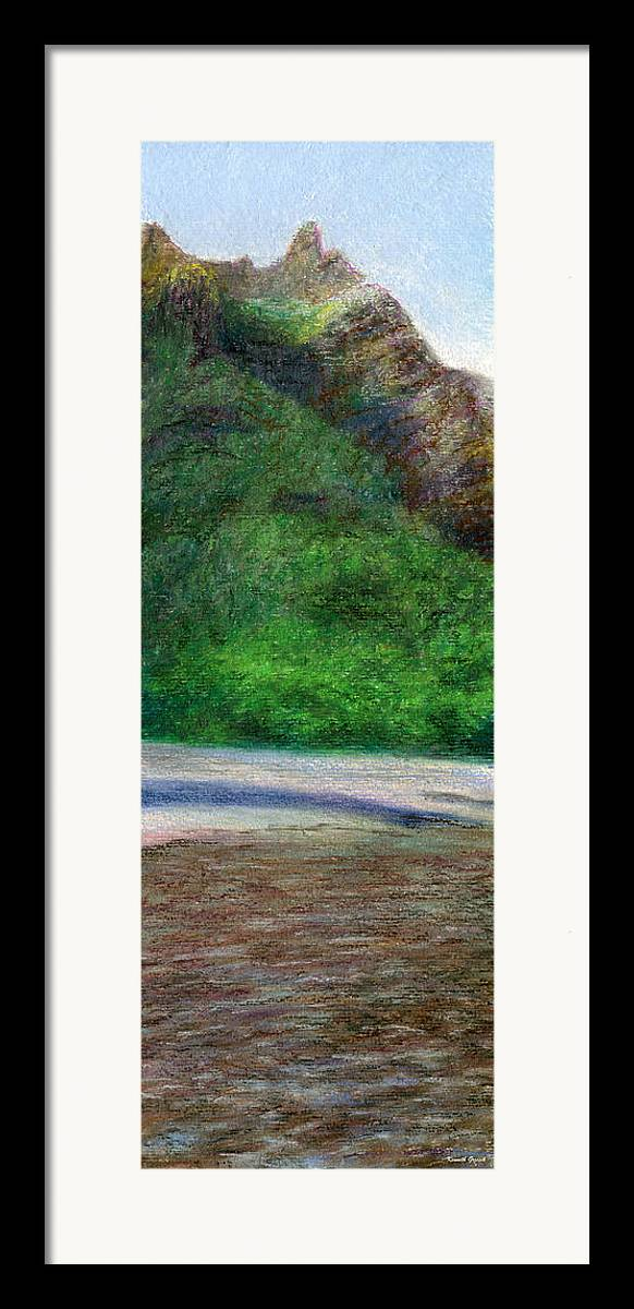Rainbow Colors Pastel Framed Print featuring the painting Tunnels Beach by Kenneth Grzesik