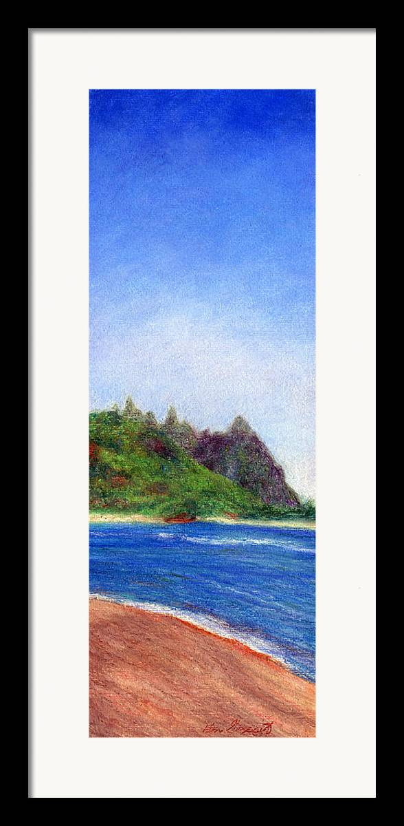 Rainbow Colors Pastel Framed Print featuring the painting Tunnels Beach View by Kenneth Grzesik