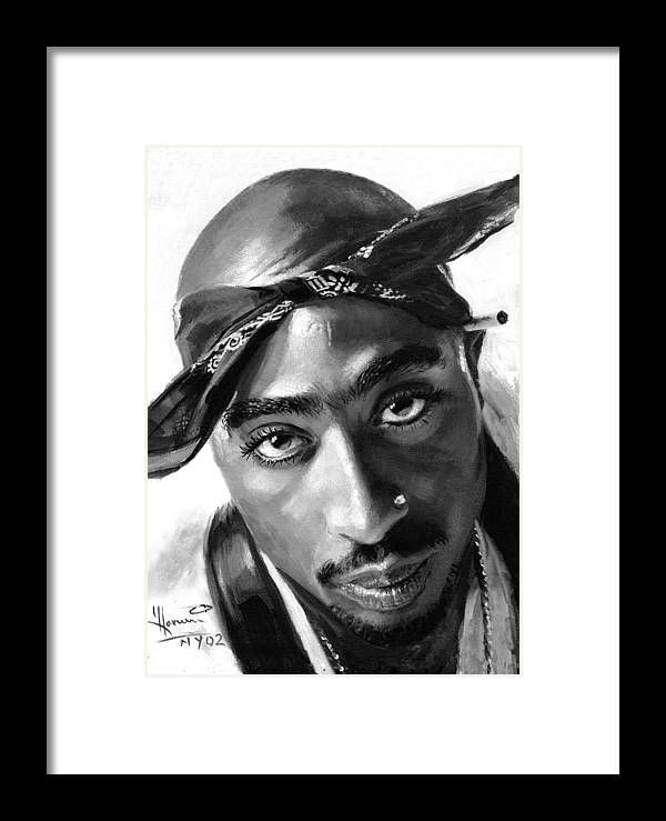 Tupac Shakur Framed Print featuring the painting Tupac Shakur by Ylli Haruni