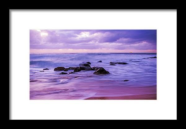 Killcare Beach Framed Print featuring the photograph Turbulent Daybreak Seascape by Merrillie Redden