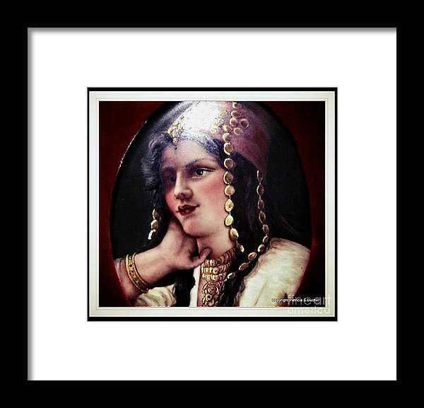 Elegant Exotic Portrait Mid Eastern Lady Framed Print featuring the painting Turkish Gypsy by Patricia Ducher