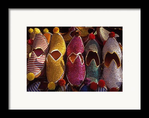 Colorful; Turkish; Slippers; Footwear; Turkey Framed Print featuring the photograph Turkish Slippers by Steve Outram