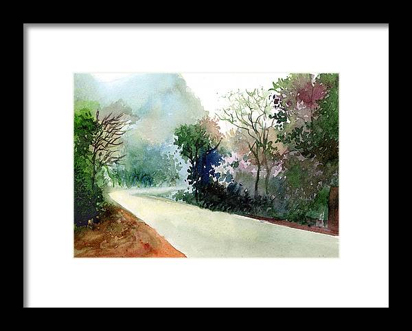 Landscape Water Color Nature Greenery Light Pathway Framed Print featuring the painting Turn Right by Anil Nene