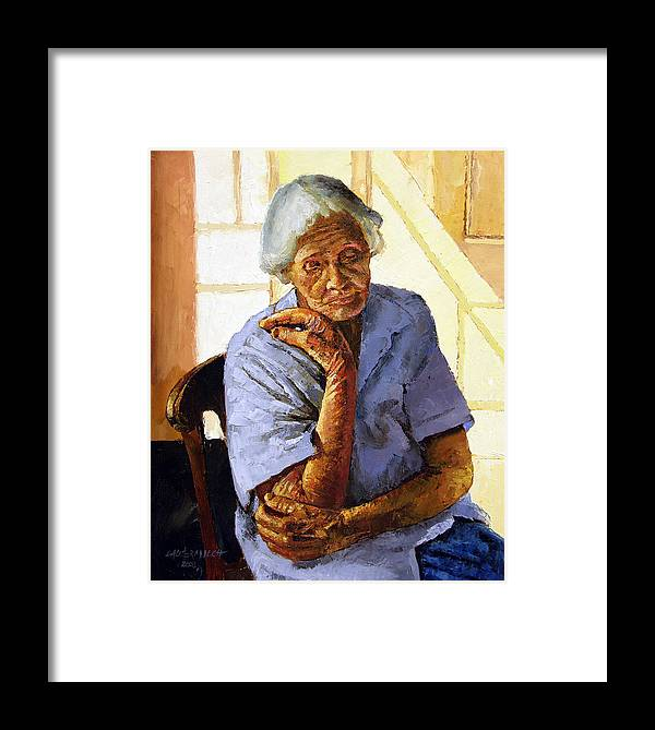 Old Woman Framed Print featuring the painting Turning Inward by John Lautermilch
