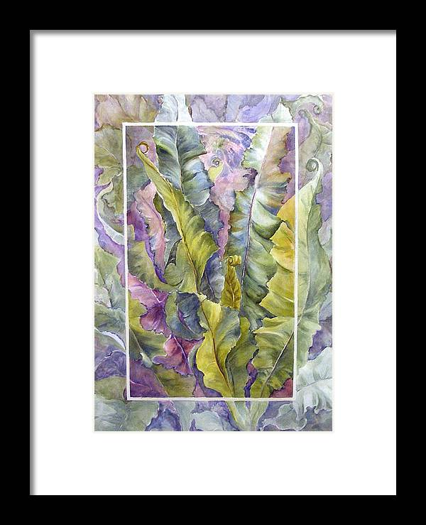 Ferns;floral; Framed Print featuring the painting Turns Of Ferns by Lois Mountz