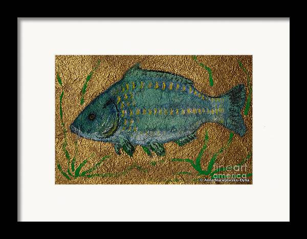 Folkartanna Framed Print featuring the painting Turquoise Carp by Anna Folkartanna Maciejewska-Dyba