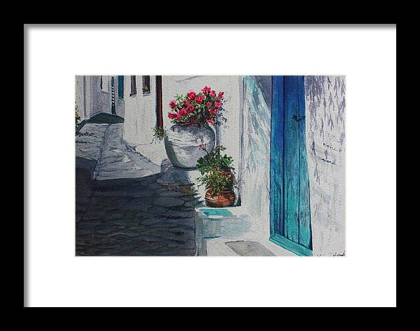 Door Framed Print featuring the painting Turquoise Door by Yvonne Ayoub