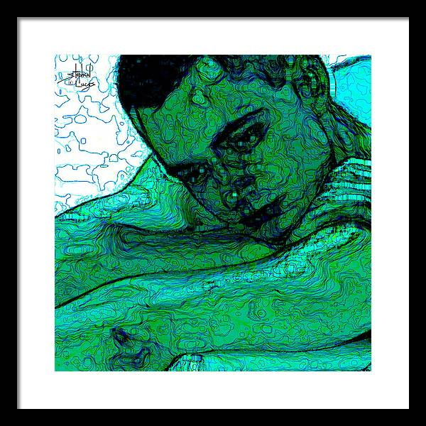 Abstract Framed Print featuring the digital art Turquoise Man by Stephen Lucas