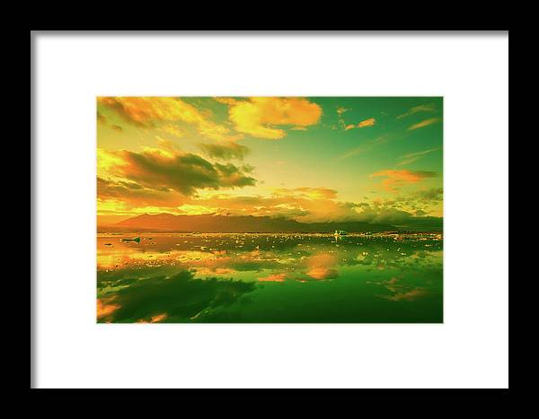 Iceland Framed Print featuring the photograph Turquoise Sunrise by Unsplash