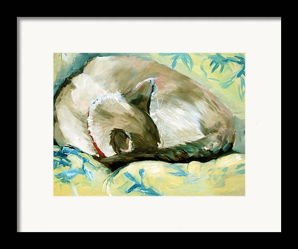 Cat Framed Print featuring the painting Turtle by Art Nomad Sandra Hansen