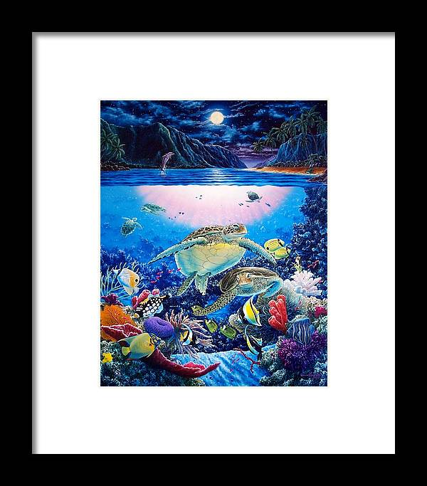 Dolphins Framed Print featuring the painting Turtle Bay by Daniel Bergren