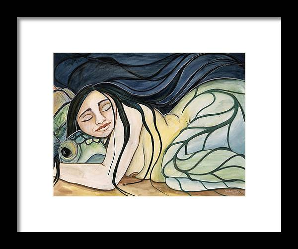 Woman Framed Print featuring the painting Turtle Daughter by Kimberly Kirk