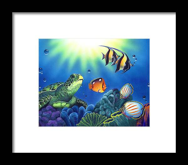 Turtle Framed Print featuring the painting Turtle Dreams by Angie Hamlin