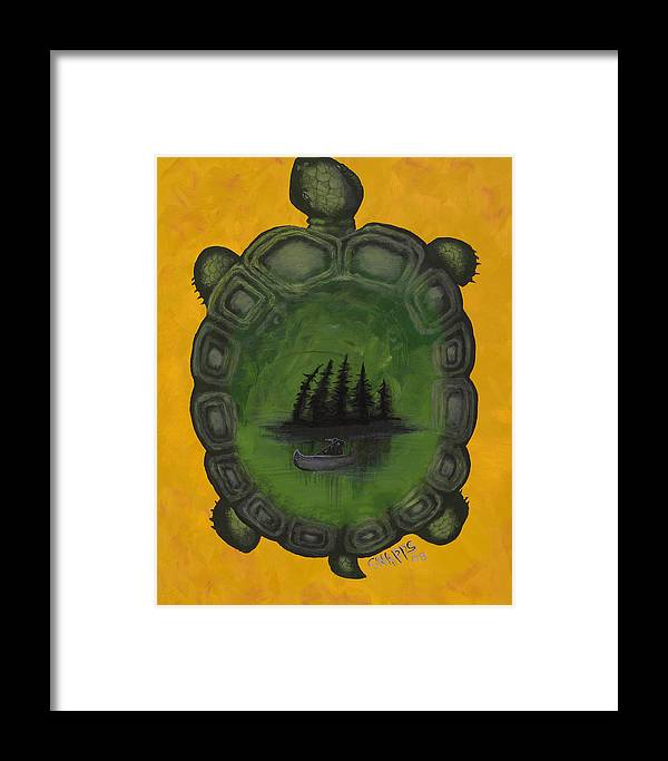Turtle Framed Print featuring the painting Turtle Island by Derek Snapps Keenatch