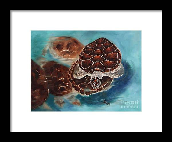 Sea Turtle Framed Print featuring the painting Turtle Time by Brenda Thour