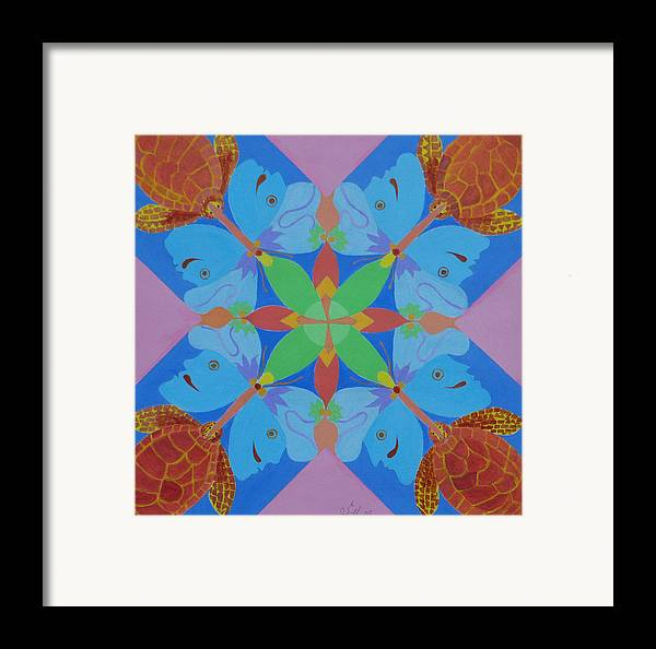 Acrylic Framed Print featuring the painting Turtles And Butterfly People by Seema Gill