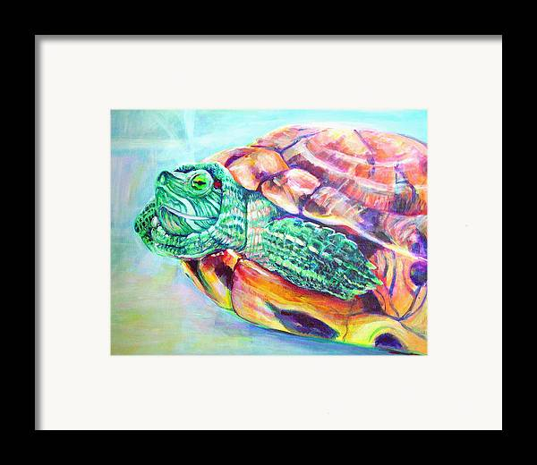 Turtle Framed Print featuring the painting Turttleneck by Gail Wartell