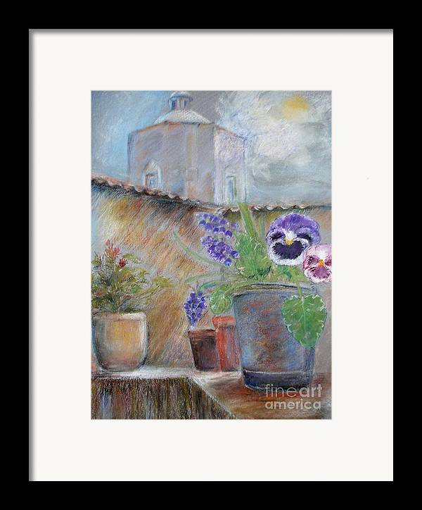 Pastels Framed Print featuring the painting Tuscan Courtyard by Sibby S