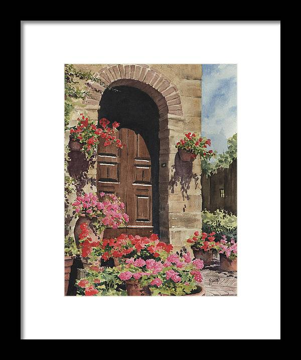 Flowers Framed Print featuring the painting Tuscan Door by Sam Sidders