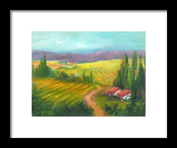 Vineyards Framed Print featuring the painting Tuscan Fields by Sally Seago