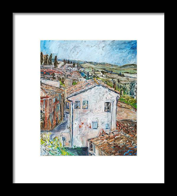 Tuscany Italy White House Landscape Cypresse Hills Roofs Sheds Houses Blue Sky Fields Tiles Framed Print featuring the painting Tuscan House by Joan De Bot