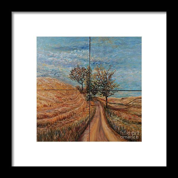 Landscape Framed Print featuring the painting Tuscan Journey by Nadine Rippelmeyer