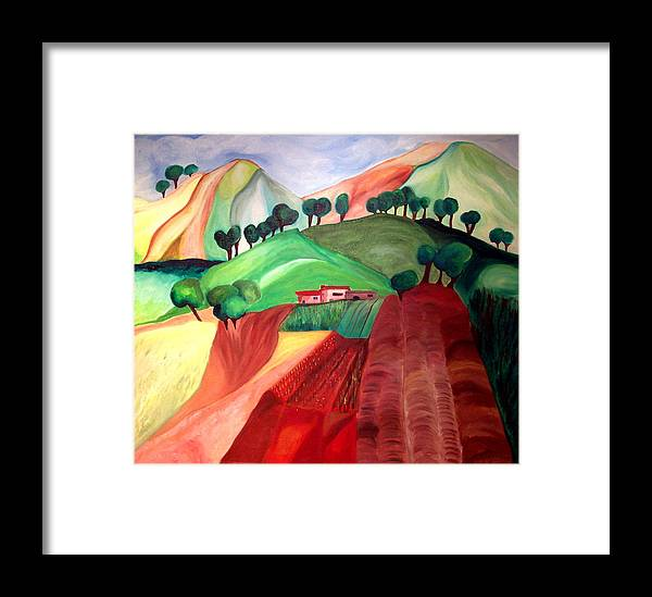 Abstract Framed Print featuring the painting Tuscan Landscape by Patricia Arroyo