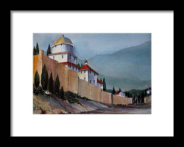 Tuscan Framed Print featuring the painting Tuscan Lane by Charles Rowland