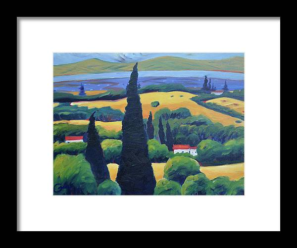 Tuscany Framed Print featuring the painting Tuscan Pines and South Bay by Gary Coleman