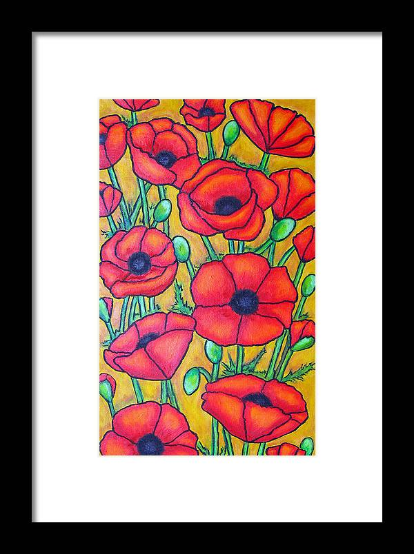 Poppies Framed Print featuring the painting Tuscan Poppies - Crop 1 by Lisa Lorenz