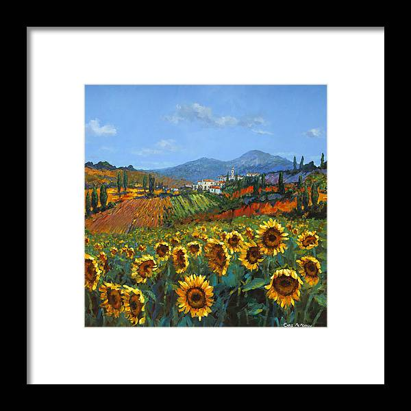 Tuscany Framed Print featuring the painting Tuscan Sunflowers by Chris Mc Morrow