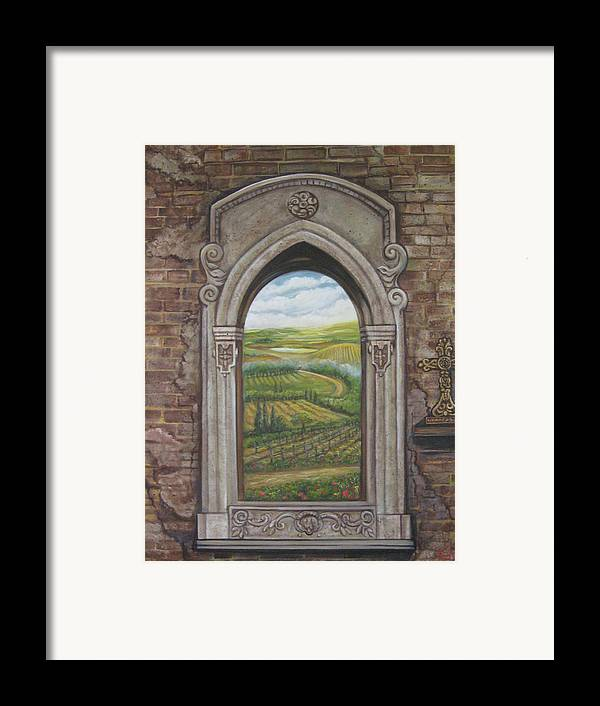 Window Framed Print featuring the painting Tuscan View by Diann Baggett