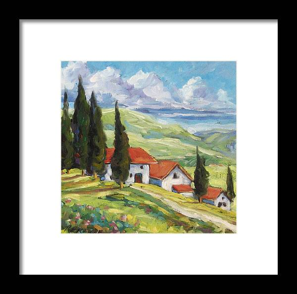 Tuscan Framed Print featuring the painting Tuscan Villas by Richard T Pranke