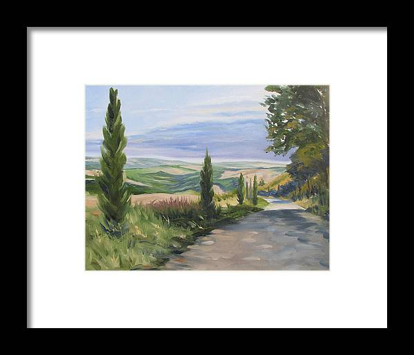 Landscape Framed Print featuring the painting Tuscan Walk by Jay Johnson