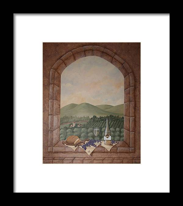 Wine Framed Print featuring the painting Tuscan Window Ledge by Sandra Poirier