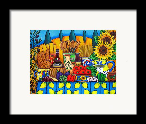 Still Life Framed Print featuring the painting Tuscany Delights by Lisa Lorenz