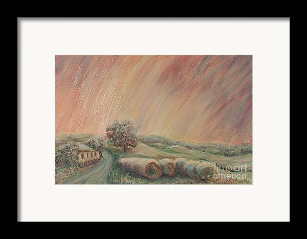 Landscape Framed Print featuring the painting Tuscany Hayfields by Nadine Rippelmeyer