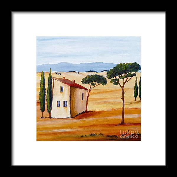 Tuscany Framed Print featuring the painting Tuscany Modern 2 by Christine Huwer