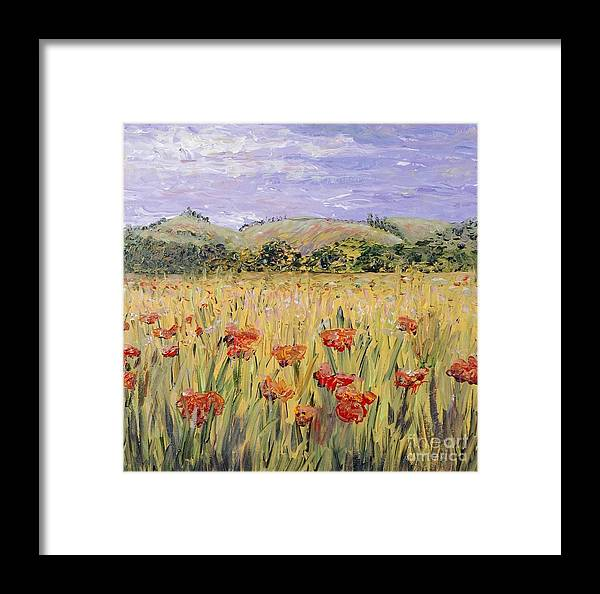 Poppies Framed Print featuring the painting Tuscany Poppies by Nadine Rippelmeyer