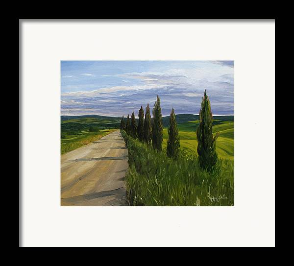 Framed Print featuring the painting Tuscany Road by Jay Johnson