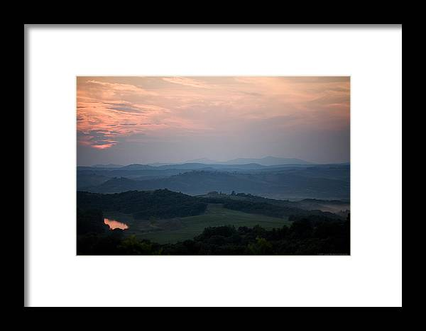 Italy Framed Print featuring the photograph Tuscany Sunset 2 by Luigi Barbano BARBANO LLC
