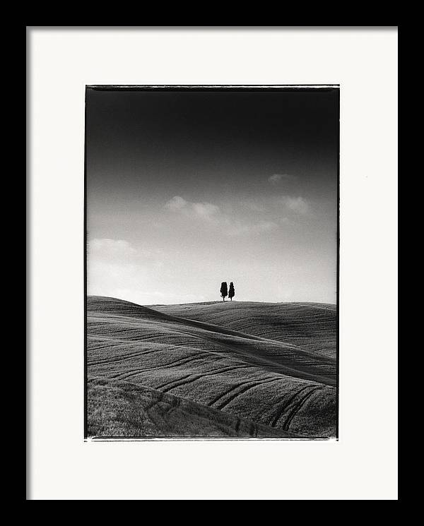 Tuscany Framed Print featuring the photograph Tuscany Twin Cypresses by Michael Hudson
