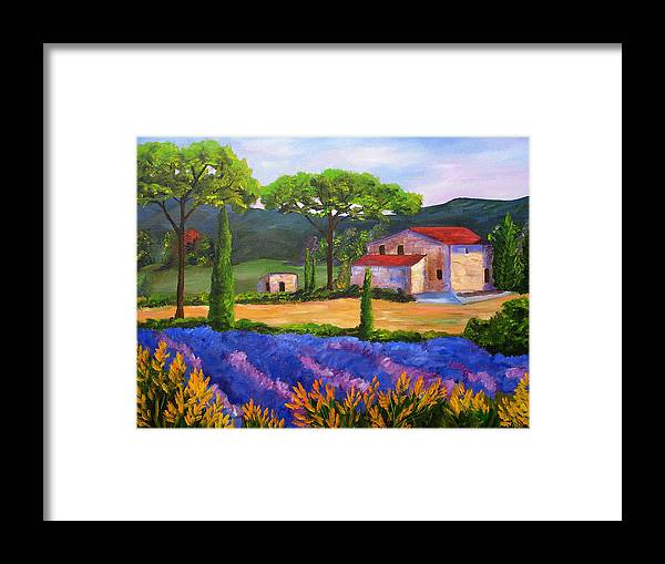 Landscape Framed Print featuring the painting Tuscany Villa by Mary Jo Zorad