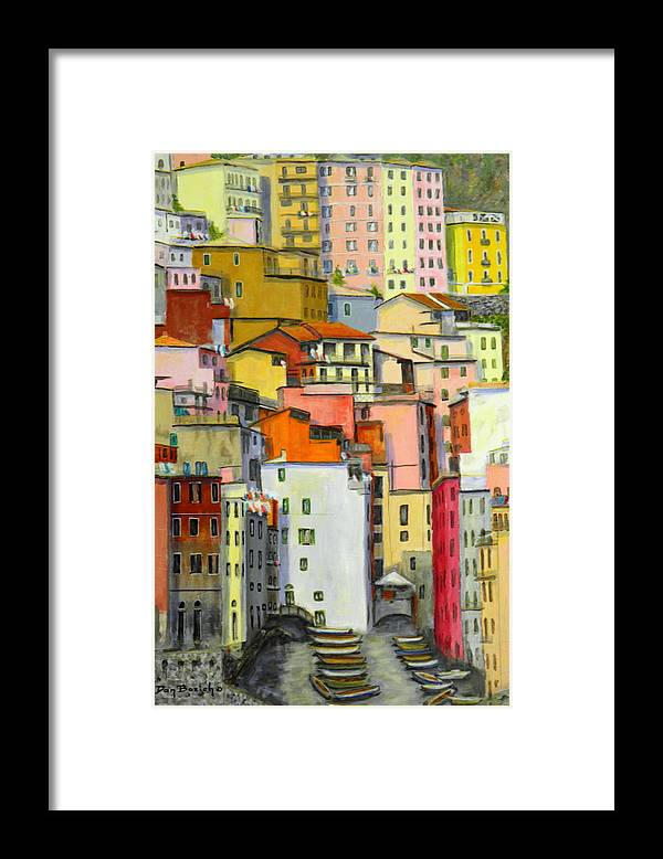 Village Framed Print featuring the painting Tuscany Village by Dan Bozich