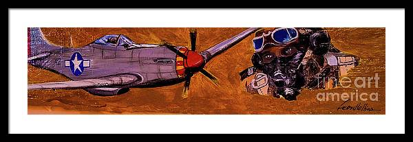 Black Pilots Framed Print featuring the painting Tuskegee Airmen II by Leon Hollins III
