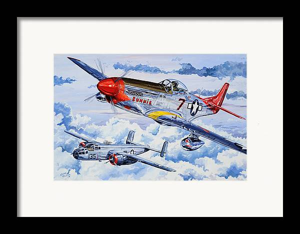 P-51 Mustang Framed Print featuring the painting Tuskegee Airman by Charles Taylor