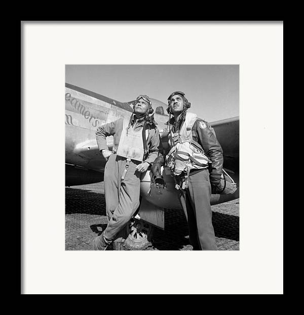 Benjamin Davis Framed Print featuring the photograph Tuskegee Airmen by War Is Hell Store